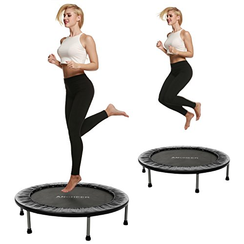 Ancheer 38inch and 40inch Trampoline Indoor and Garden Trampoline - Maximum Load 220lbs, 6-8 Sturdy Feet + Safety Pad Around, Two Times folded, not folded Trampoline, Diameter Approx: 96cm, 102 cm