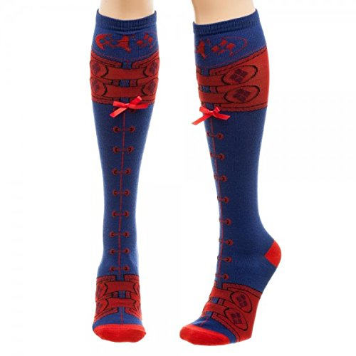 DC Comics Harley Quinn Suit Lace Up Knee High Socks (Batman Thigh High Socks)
