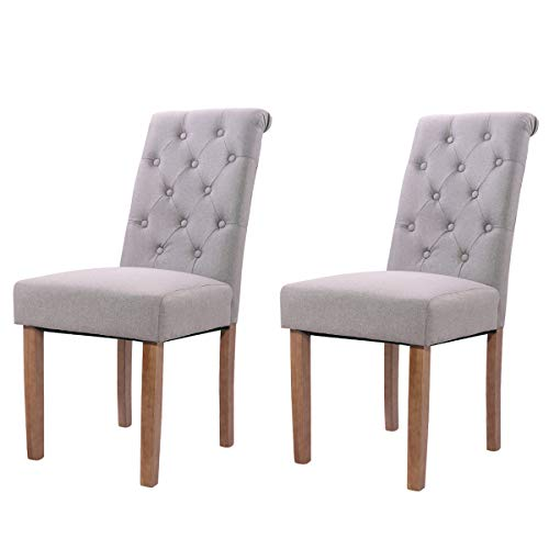 Tobbi Solid Wood High Back Tufted Parsons Dining Chair for Dining Room Living Room Set of 2 -