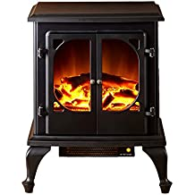 e-Flame USA Townsend Portable Electric Fireplace Stove by (Matte Black) - This 25-inch Tall Freestanding Fireplace Features Heater and Fan Settings with Realistic Brightly Burning Fire and Logs