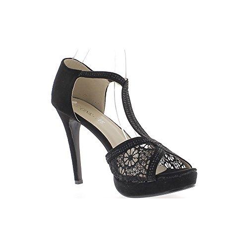 Sandali taglia pizzo grande nero 12cm e potete camoscio tacco