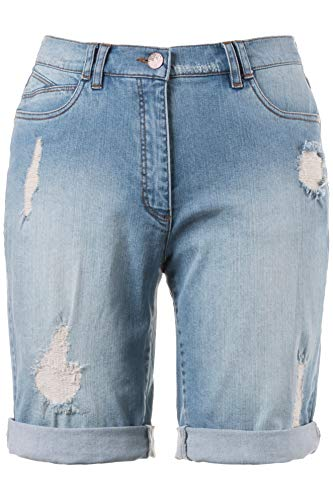 Grandes Short Pantalon Clair Popken Destroy Tailles Ulla 706134 Femme Effet Coton Mélangé Bleu Ew1ZpIqz
