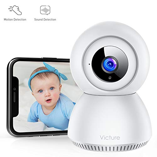 Victure 1080P FHD Baby Monitor with 2.4G WiFi Wireless IP Home Security Camera Indoor Surveillance Camera with Smart Sound Detection Motion Tracking Night Vision and 2-Way Audio for Baby/Elder/Pet (Turn Your Iphone Into A Baby Monitor)