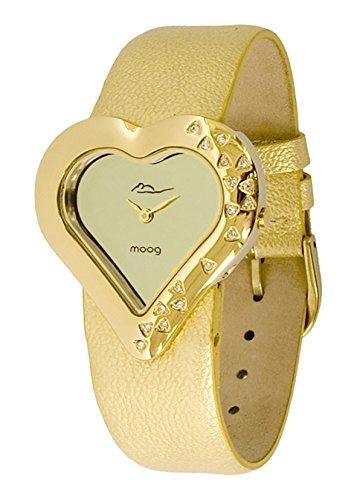 Moog Paris Heart Women's Watch with Champagne Dial, Gold Genuine Leather Strap & Swarovski Elements - M44336F-101