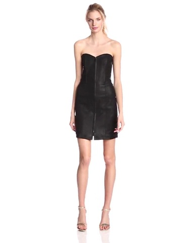 MINKPINK Womens French Kiss Strapless Faux-Leather Dress