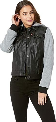 Levi's Women's Mixed Media Faux Leather Hooded Trucker Jacket, Black/Light Grey X-Small