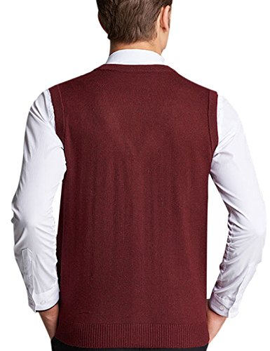 Men's Wool V Neck Sleeveless Knitted Button Down Sweater Vest ...