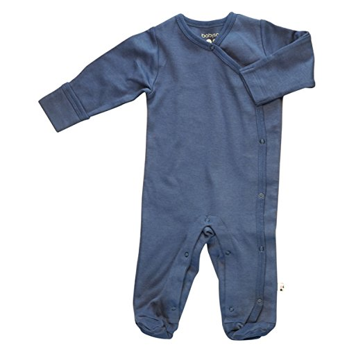 Babysoy Organic Long Sleeve Solid Footie/Coverall (Indigo, 3-6 Months) ()