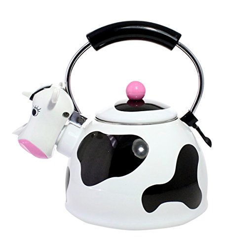 Cute Decorative Enameled Steel Whistling Tea Kettle - 2 Quarts, Black and White Cow