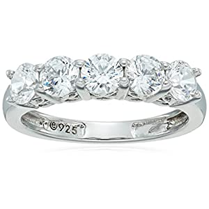 Platinum or Gold Plated Sterling Silver Round-Cut 5-Stone Ring made with Swarovski Zirconia