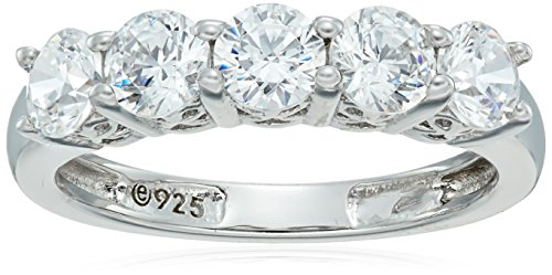 Platinum-Plated Sterling Silver Round-Cut 5-Stone Ring made with Swarovski Zirconia (1.25 cttw), Size 5 ()