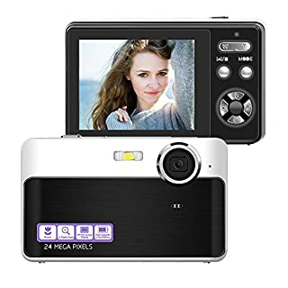Digital Camera Compact Camera 24 MP Digital Cameras Mini Camera 2.4 inch LCD Screen Vlogging Camera with 3X Digital Zoom Macro Function Perfect for Adult, Kids, Beginners