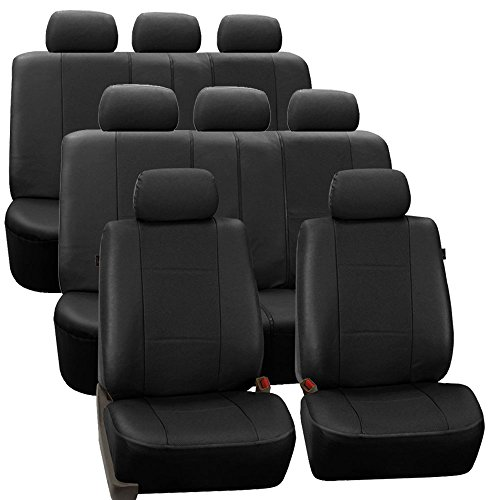 FH Group FH-PU007128 3 Row Deluxe Leatherette Car Seat Covers w. 8 Headrests, Airbag Compatible and Rear Split, Black Color