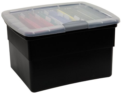 United Solutions-Organize Your Office OF0046 Snap & Lock File Box in Black-Office Organizer Black File Box Featuring Snap & Lock