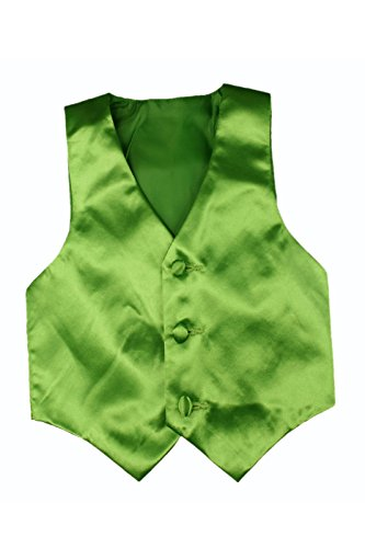 Baby Toddler Kids Little Boys Formal 23 Color Satin Vest S-7 (2T, Lime Green)