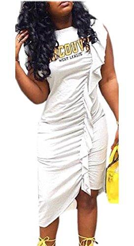 Jaycargogo Femmes Sans Manches Lettre Imprimer Robe Moulante Irrégulière Midi À Volants Plissés Blanc
