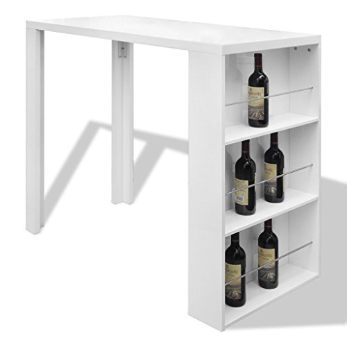 High Gloss Bar Coffee Table Dining Table With 3 Layer Rack White:  Amazon.co.uk: Kitchen U0026 Home