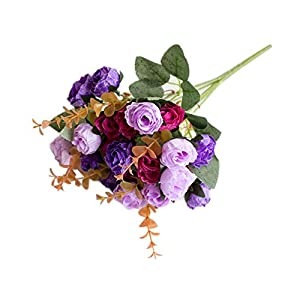 dezirZJjx Artificial Flowers 1 Bouquet Artificial Plastic Rose Flower Plant Home Office Shop Decoration - Purple 97