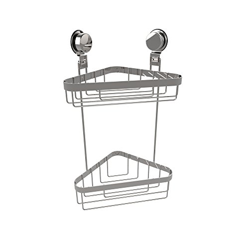 Two Tier Corner Basket (Lavish Home Wall Mounted Two Tier Corner Caddy-Shower Storage Rack for Bathroom Organizing with Stainless Steel Twist Lock Suction Cups)