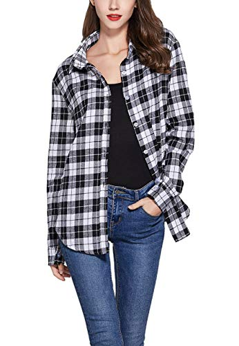 GUANYY Women's Long Sleeve Casual Loose Classic Plaid Button Down Shirt(White and Black Plaid,Large)