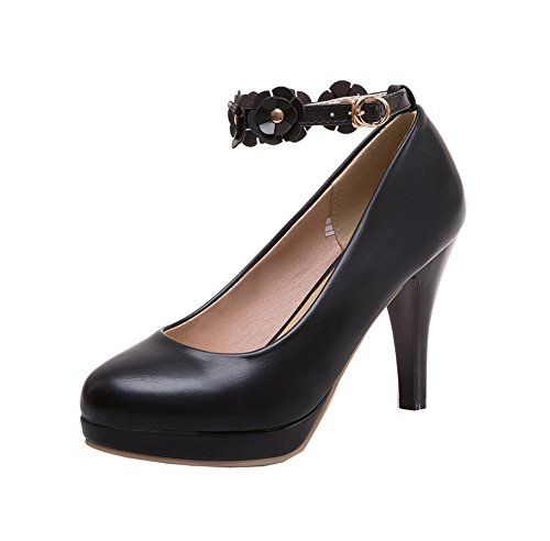 AalarDom Women's Closed-Toe Buckle PU Solid High-Heels Pumps-Shoes, Black, 42