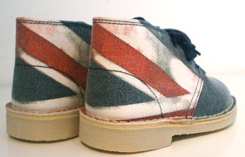Clarks Schuhe Desert Boots Halbschuhe Schnürer Leder blau Union Jack