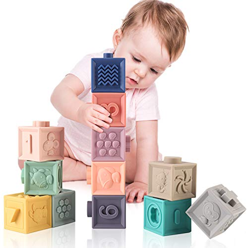 MIXI Baby Toys Blocks, Soft Blocks for Babies 6 Month Baby Toys Teething Toys Infant Toys Baby Building Blocks Montessori Developmental Toys with Numbers Animals Shapes for Baby 6 Months and Up 12PCS