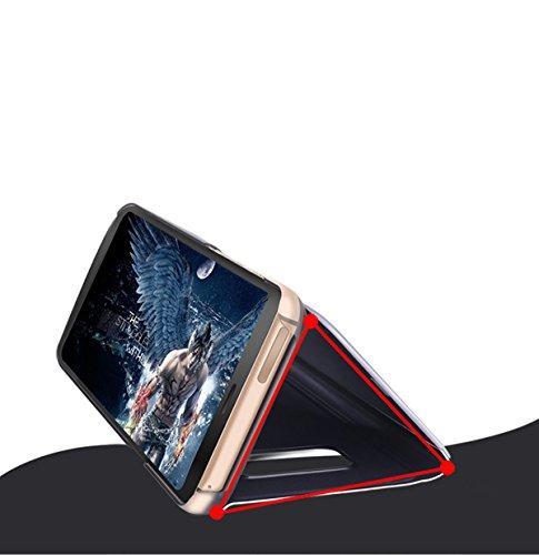 Samsung Galaxy S8 Caso, Espejo Smart Clear View Window and ,Clamshell, Soporte plegable, Adecuado para Samsung Galaxy S8 (5.8-Pulgada Negro) + 1 x HD Protector de pantalla Plata