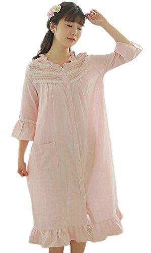 Giù Tasche Cotone Sleepshirts Rosa Di Delle Abiti Pigiami Donne Soojun Pulsante Con Del Nuovo IqRfw7x