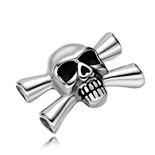 REAMOR 5pcs 316L Stainless Steel Pirate Skull Connectors Charms Fit Leather Bracelet Jewelry (Making Your Own 80's Costume)