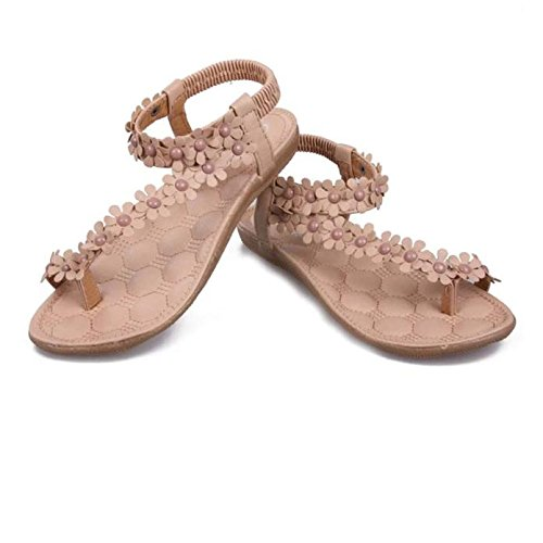 Womens Sandals Ladies Summer Bohemia Flower Beaded Sandals Clip Toe Low Heel Sandals Casual Dress Shoes Beach Shoes
