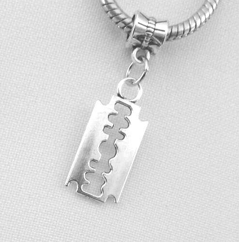 (Razor Blade European Dangle Bead Charm - for Bracelet or Pendant)