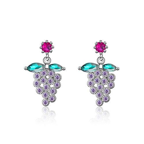 Lovely 925 Sterling Silver Purple Grape Earrings For Women Girl Gift Colored Zircon Earrings -