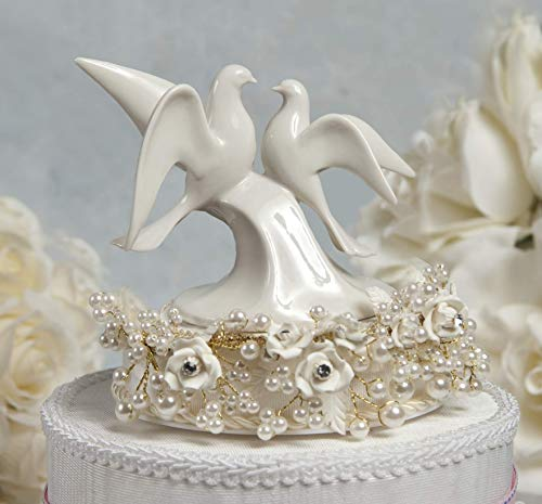 Vintage Rose Pearl and Dove Wedding Cake Topper: Base Color: SILVER WIRING