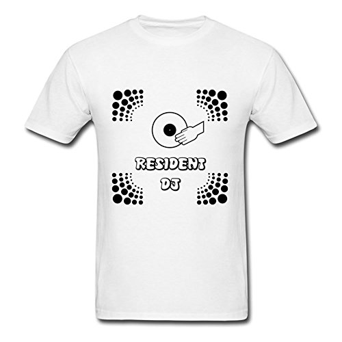 Men Top Clothing Casual Resident Dj Printed Medium With Organic Cotton White by EdgarPearson