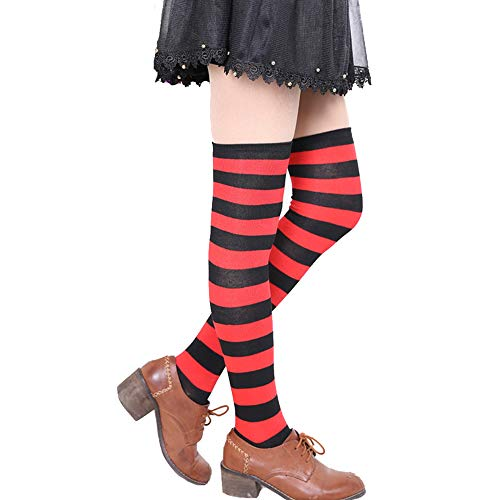 Womens Girls Long Striped Over Knee Thigh High Socks Fun Cute Crazy School Party Cosplay Custume Cotton Stockings, Black+Red, Ladies' one size(6-11)