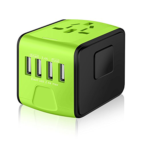 SAUNORCH Universal International Travel Power Adapter W/Smart High Speed 2.4A 4xUSB Wall Charger, European Adapter, Worldwide AC Outlet Plugs Adapters for Europe, UK, USA, AU, Asia-Green