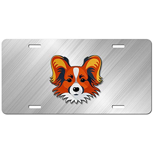 Papillon Face Personalized Car Front Tag for Dog Lovers Aluminum Auto Truck License Plate Frame Cover 12 x 6 Inch