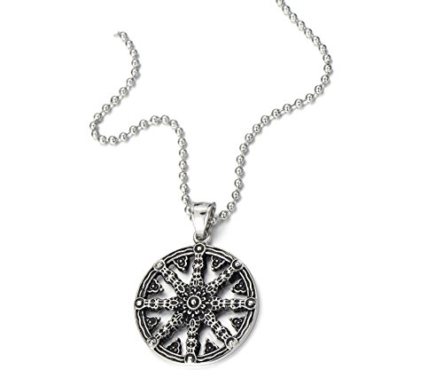 Mens Dharmachakra Pendant Dharma Wheel Of Law Buddhist Symbol