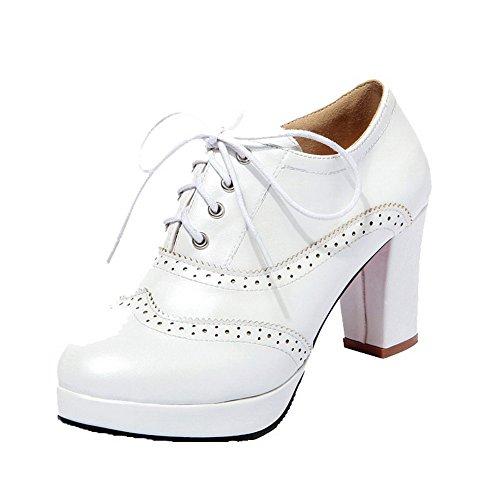 Damen PU Leder Schnüren Rund Zehe Hoher Absatz Pumps Schuhe, Weiß, 42 AllhqFashion