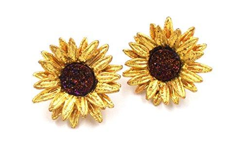 ''Sunflower'' Druzy Stud CLIP Earrings by Michael Michaud for Silver Seasons… by Michael Michaud
