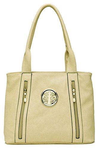 Big Handbag Shop - Bolso de asas de piel sintética para mujer - Light Beige (BH587)