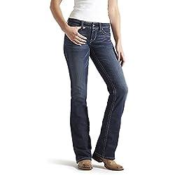 Ariat Women's R.E.A.L. Riding Mid Rise Boot Cut Jean, Ocean, 33 Long