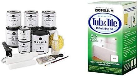 Giani Carrara White Marble Epoxy Countertop Kit & Rust-Oleum 7860519 Tub and Tile Refinishing 2-Part Kit, White, 32 oz