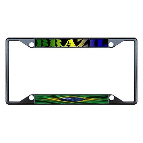(License Plate Frame Brazil Wavy Flag Black Metal Tag Holder Four Holes)