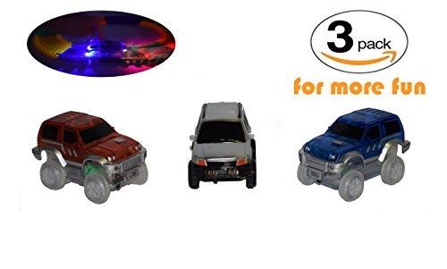 Replacement Toy Car Blue, Red and Silver Jeeps (3-Pack) with 3 LED Lights Compatible with Most Tracks for Boys and Girls