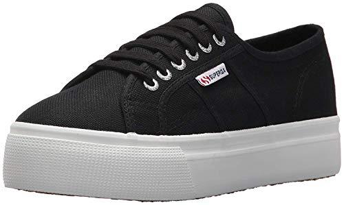 Superga Women's 2790 Platform Sneaker, Black/White, 39.5 M EU (8.5 US)