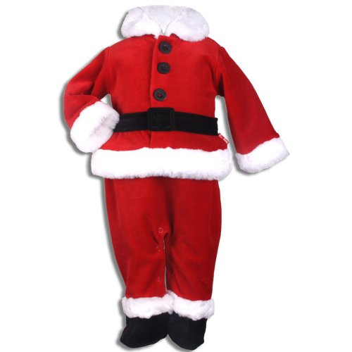 (Letop Santa's Little Helper Red Velour Footed Santa Suit, Garnet, 3 Months)