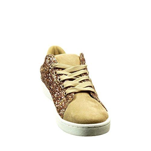 Angkorly Damen Schuhe Sneaker - Tennis - Bi-Material - Strass - Stern Flache Ferse 2 cm Camel