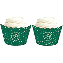 Andaz Press Emerald Forest Green and Gold Glittering Graduation Party Collection, Cupcake Wrappers, 20-Pack